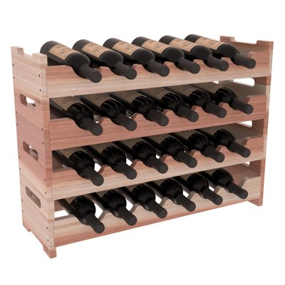 Karnes Redwood Mini Scalloped 24 Bottle Tabletop Wine Rack Finish: Natural Satin