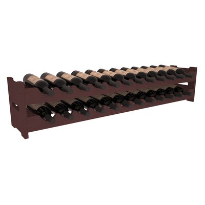 Karnes Pine Scalloped 24 Bottle Tabletop Wine Rack Finish: Walnut