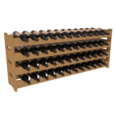 Karnes Pine Scalloped 48 Bottle Tabletop Wine Rack Finish: Oak