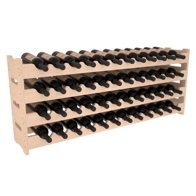 Karnes Pine Scalloped 48 Bottle Tabletop Wine Rack Finish: Natural