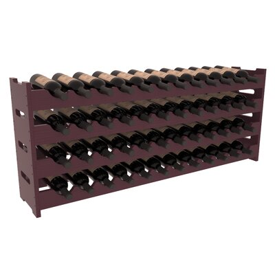 Karnes Pine Scalloped 48 Bottle Tabletop Wine Rack Finish: Burgundy Satin