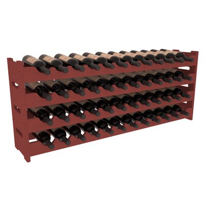 Karnes Pine Scalloped 48 Bottle Tabletop Wine Rack Finish: Cherry