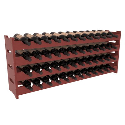 Karnes Pine Scalloped 48 Bottle Tabletop Wine Rack Finish: Cherry Satin