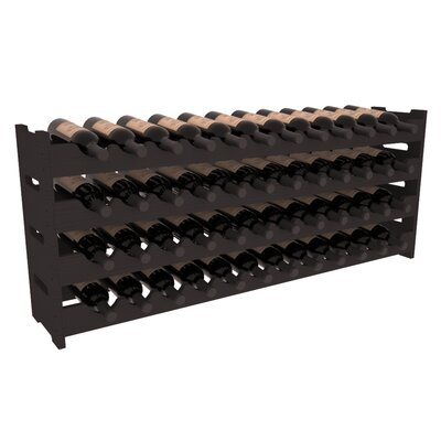 Karnes Pine Scalloped 48 Bottle Tabletop Wine Rack Finish: Black