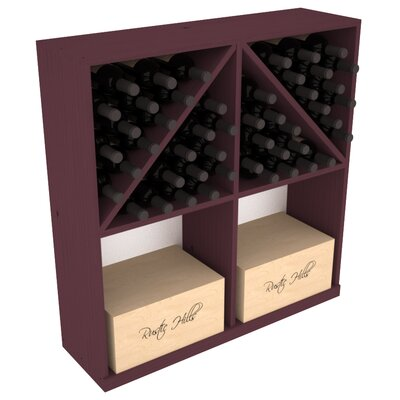 Karnes Pine 96 Bottle Floor Wine Rack Finish: Burgundy