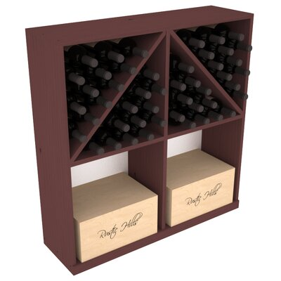 Karnes Pine 96 Bottle Floor Wine Rack Finish: Walnut