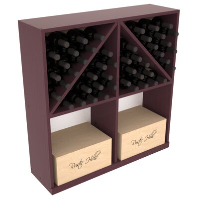 Karnes Pine 96 Bottle Floor Wine Rack Finish: Burgundy Satin