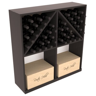 Karnes Pine 96 Bottle Floor Wine Rack Finish: Black Satin