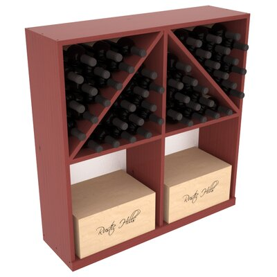 Karnes Pine 96 Bottle Floor Wine Rack Finish: Cherry Satin