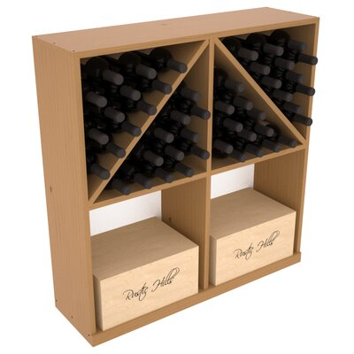 Karnes Pine 96 Bottle Floor Wine Rack Finish: Oak Satin