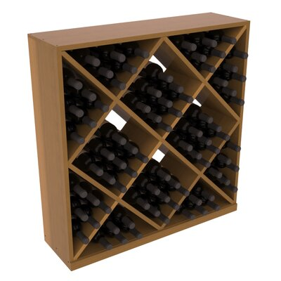 Karnes Redwood Diamond Cube 82 Bottle Floor Wine Rack Finish: Oak Satin