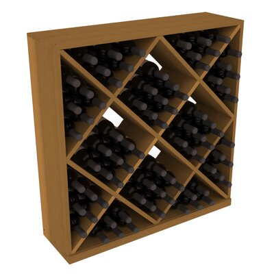 Karnes Redwood Diamond Cube 82 Bottle Floor Wine Rack Finish: Oak