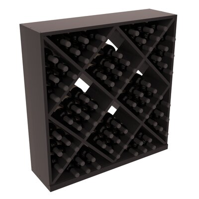 Karnes Redwood Diamond Cube 82 Bottle Floor Wine Rack Finish: Black Satin