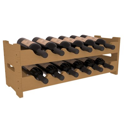 Karnes Pine Mini Scalloped 12 Bottle Tabletop Wine Rack Finish: Oak