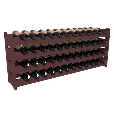 Karnes Pine Scalloped 48 Bottle Tabletop Wine Rack Finish: Walnut