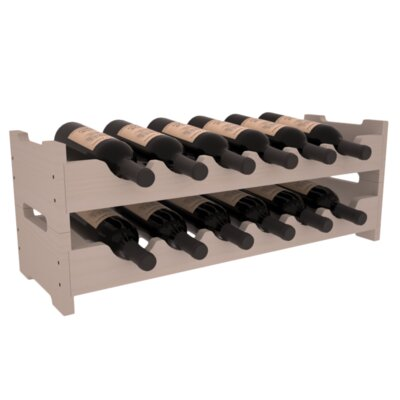 Karnes Pine Mini Scalloped 12 Bottle Tabletop Wine Rack Finish: Gray