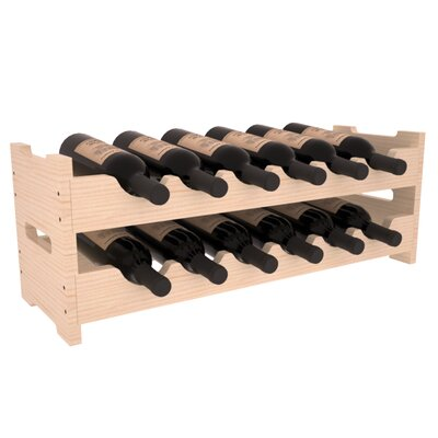 Karnes Pine Mini Scalloped 12 Bottle Tabletop Wine Rack Finish: Natural Satin