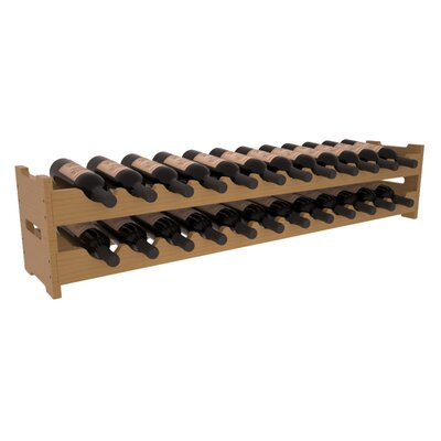 Karnes Pine Scalloped 24 Bottle Tabletop Wine Rack Finish: Oak Satin