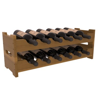 Mangels Redwood Mini Scalloped 12 Bottle Tabletop Wine Rack Finish: Oak Satin