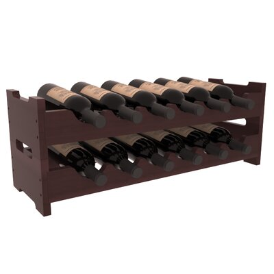 Mangels Redwood Mini Scalloped 12 Bottle Tabletop Wine Rack Finish: Walnut Satin