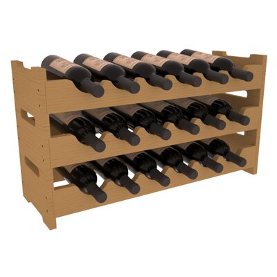 Karnes Pine Mini Scalloped 18 Bottle Tabletop Wine Rack Finish: Oak