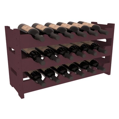 Karnes Pine Mini Scalloped 18 Bottle Tabletop Wine Rack Finish: Burgundy