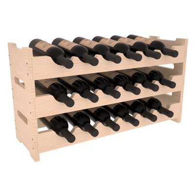 Karnes Pine Mini Scalloped 18 Bottle Tabletop Wine Rack Finish: Natural Satin