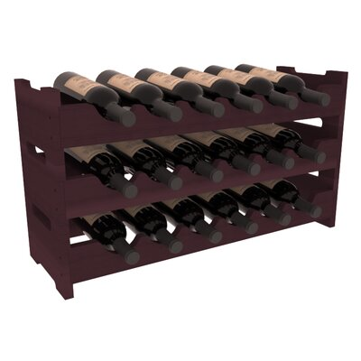 Karnes Redwood Mini Scalloped 18 Bottle Tabletop Wine Rack Finish: Burgundy