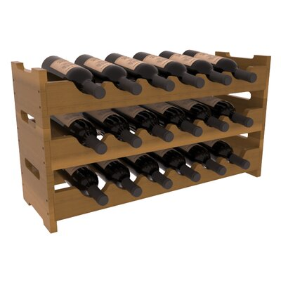 Karnes Redwood Mini Scalloped 18 Bottle Tabletop Wine Rack Finish: Oak Satin