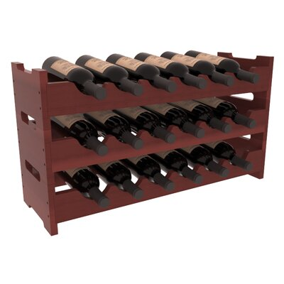 Karnes Redwood Mini Scalloped 18 Bottle Tabletop Wine Rack Finish: Cherry Satin
