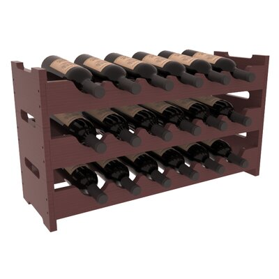 Karnes Pine Mini Scalloped 18 Bottle Tabletop Wine Rack Finish: Walnut Satin