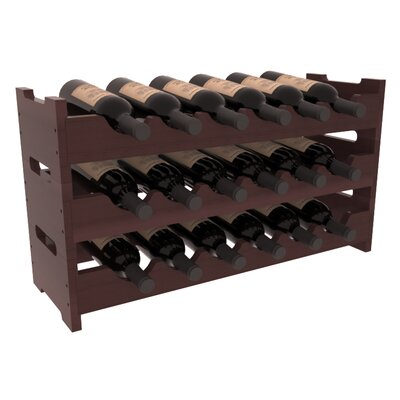 Karnes Redwood Mini Scalloped 18 Bottle Tabletop Wine Rack Finish: Walnut Satin