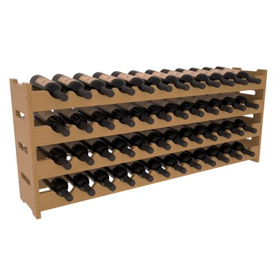 Karnes Pine Scalloped 48 Bottle Tabletop Wine Rack Finish: Oak Satin