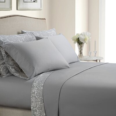 Inglewood Reversible 400 Thread Count Cotton Sheet Set Color: Gray, Size: Queen