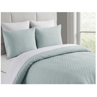 Ridgeway Rayon from Bamboo Coverlet Set Size: Queen, Color: Sky