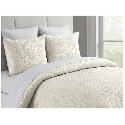 Ridgeway Rayon from Bamboo Coverlet Set Size: Queen, Color: Ivory