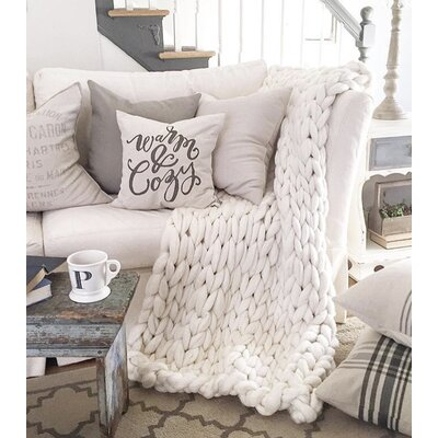 Vallon Chunky Knit Merino Wool Throw Size: 60 H x 40 W x 2 D, Color: Cream