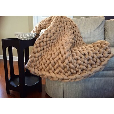 Vallon Chunky Knit Merino Wool Throw Size: 60 H x 40 W x 2 D, Color: Beige