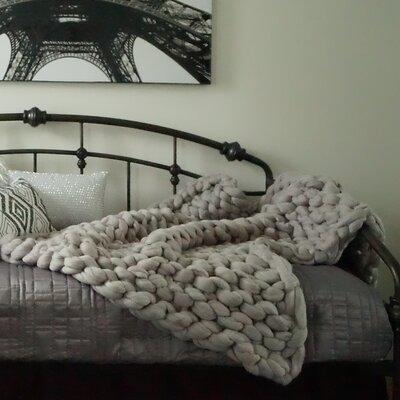Vallon Chunky Knit Merino Wool Throw Color: Gray, Size: 50 H x 35 W x 2 D