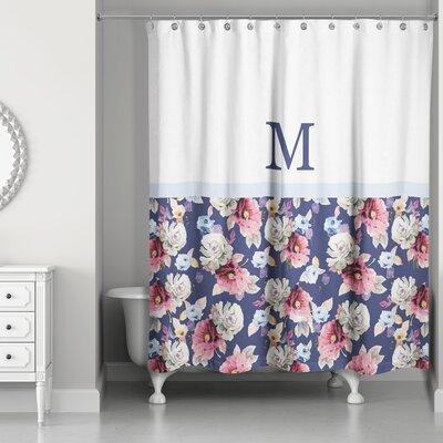Arquette Floral Monogrammed Shower Curtain Letter: M