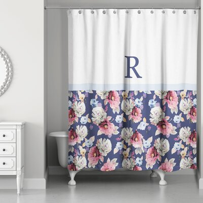 Arquette Floral Monogrammed Shower Curtain Letter: R