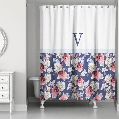 Arquette Floral Monogrammed Shower Curtain Letter: V