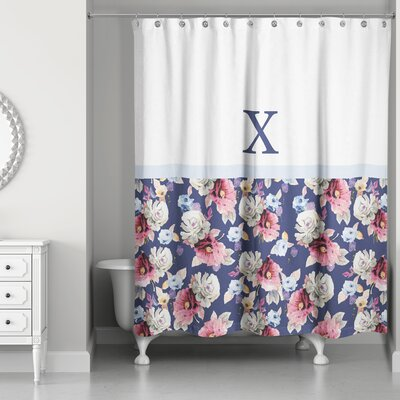 Arquette Floral Monogrammed Shower Curtain Letter: X