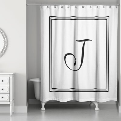 Ashbrook Classic Monogrammed Shower Curtain Letter: J