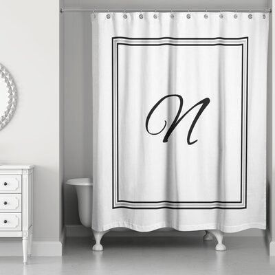 Ashbrook Classic Monogrammed Shower Curtain Letter: N