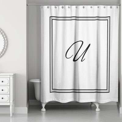 Ashbrook Classic Monogrammed Shower Curtain Letter: U