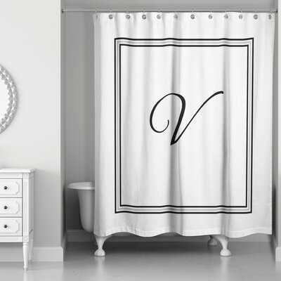 Ashbrook Classic Monogrammed Shower Curtain Letter: V