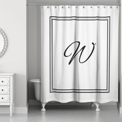 Ashbrook Classic Monogrammed Shower Curtain Letter: W