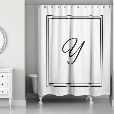 Ashbrook Classic Monogrammed Shower Curtain Letter: Y