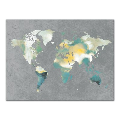 'World Map' Rectangle Watercolor Painting Print on Canvas Format: Wrapped Canvas, Size: 18